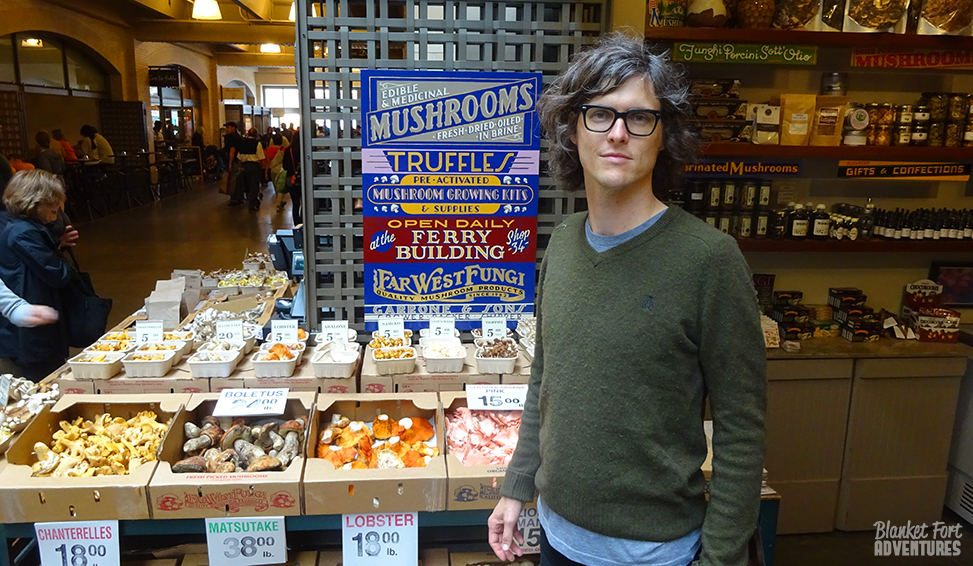 Dan and the mushrooms at the Ferry Building